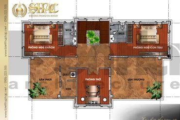 6 Mặt bằng công năng tầng 3 biệt thự tân cổ điển pháp tại quảng ninh sh btcd 0034