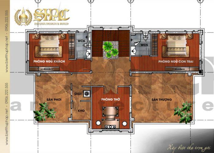 Bản vẽ mặt bằng công năng tầng 3 biệt thự tân cổ điển pháp 3 tầng diện tích 9x26m