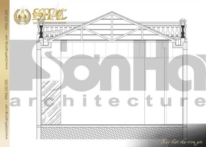 Bản vẽ mặt cắt 3-3 của ngôi biệt thự 1 tầng phong cách tân cổ điển tại Hà Nội