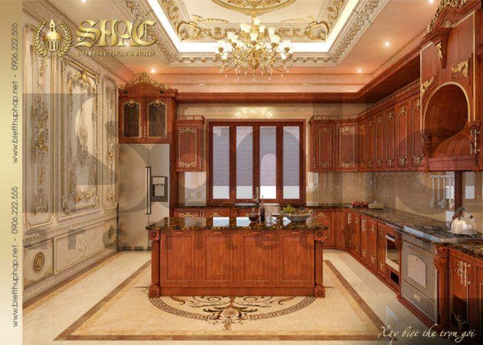 Cận cảnh bố trí khi bếp nấu của ngôi biệt thự 4 tầng kiến trúc cổ điển pháp tại Quảng Ninh