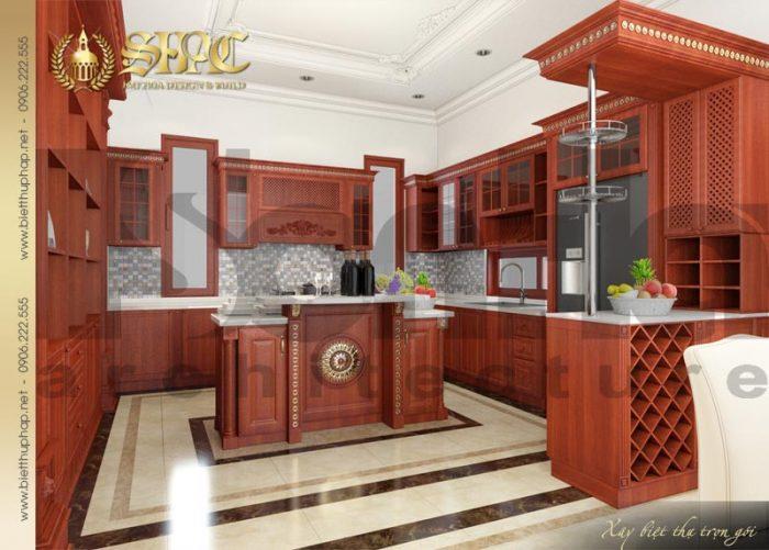 Góc thiết kế tinh tế và ấn tượng không gian bếp nấu của ngôi biệt thự kiểu pháp