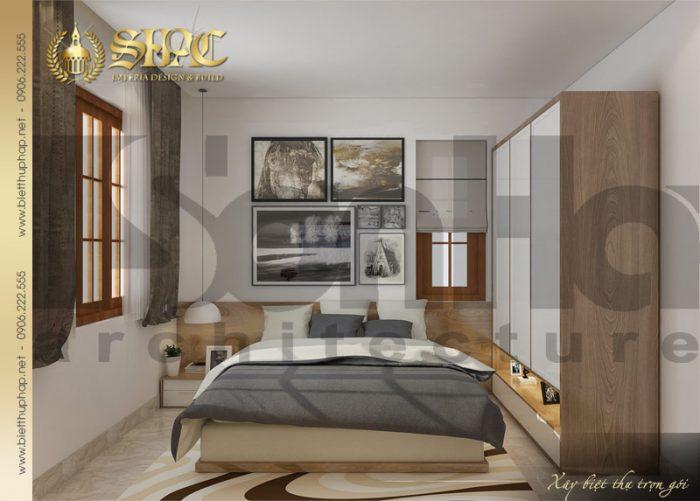 Phương án thiết kế nội thất phòng ngủ giản dị mà đẹp của biệt thự tân cổ điển 1 tầng