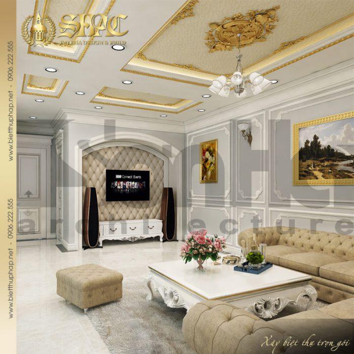 Mẫu thiết kế nội thất phòng sinh hoạt chung biệt thự 3 tầng 1 tum tân cổ điển tại Hà Nội