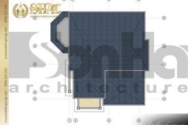 7 Mặt bằng công năng tầng mái biệt thự tân cổ điển tại quảng bình sh btcd 0038