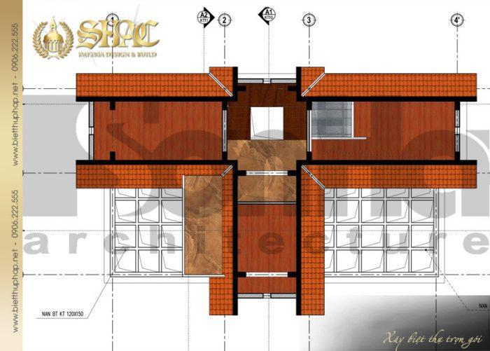 Bản vẽ mặt bằng công năng tầng tum biệt thự tân cổ điển pháp 3 tầng diện tích 9x26m