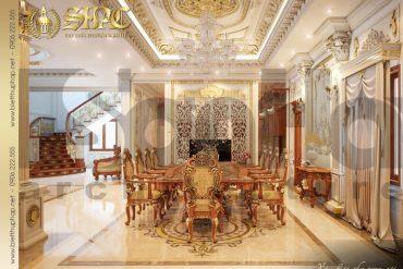 7 Thiết kế nội thất phòng ăn biệt thự pháp cổ tại quảng ninh sh btp 0033
