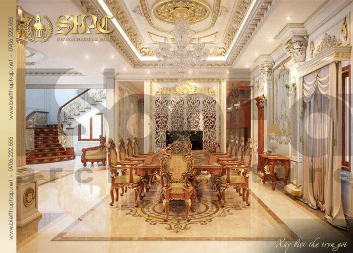 Không gian phòng ăn ấm cúng và xa hoa với bố trí bộ bàn ăn cao cấp tạo hình đẹp