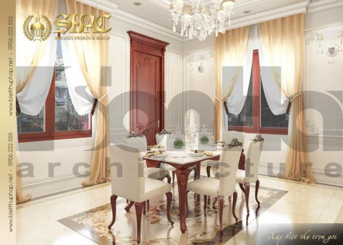 Khu vực phòng ăn của biệt thự pháp 3 tầng sang trọng với nội thất màu sắc tinh tế