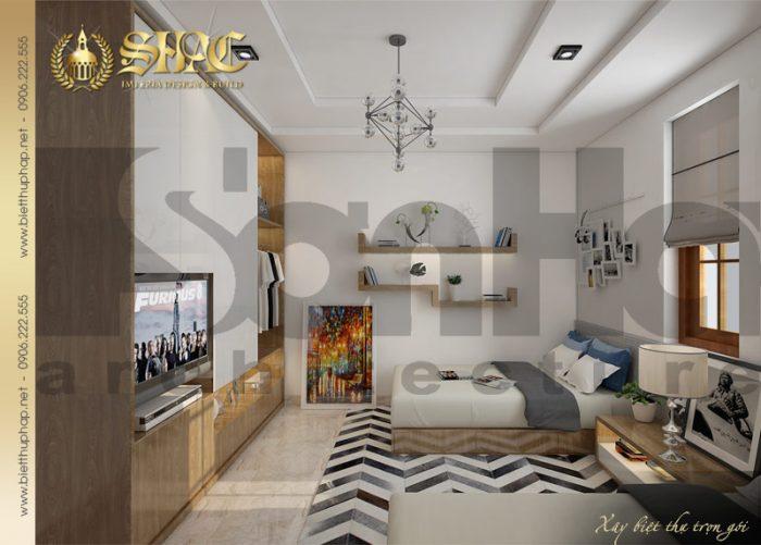 Mẫu thiết kế nội thất phòng ngủ hai giường của biệt thự kiến trúc tân cổ điển
