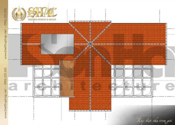 Bản vẽ mặt bằng công năng tầng mái biệt thự tân cổ điển pháp 3 tầng diện tích 9x26m
