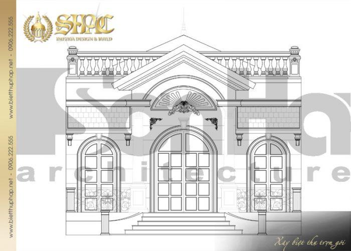 Bản vẽ mặt đứng của ngôi biệt thự 1 tầng phong cách tân cổ điển tại Hà Nội