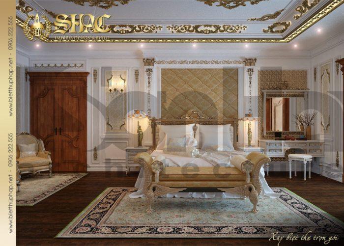Mẫu nội thất phòng ngủ biệt thự cổ điển pháp 4 tầng đẹp mắt tại Quảng Ninh