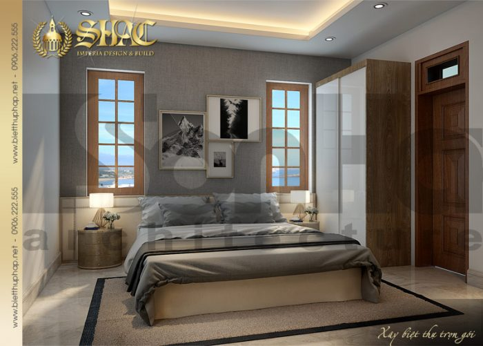 Ngôi biệt thự 1 tầng bố trí thêm được phòng ngủ rất sang trọng tinh tế
