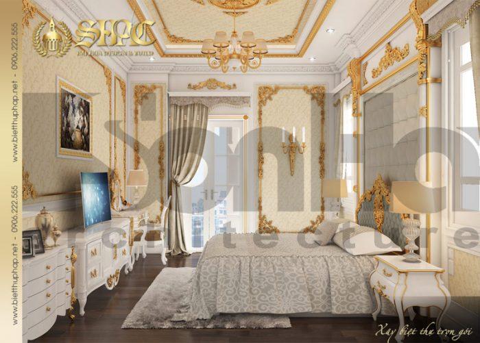 Nội thất phòng ngủ biệt thự tân cổ điển châu âu diện tích 9mx22m bố trí đẹp mắt