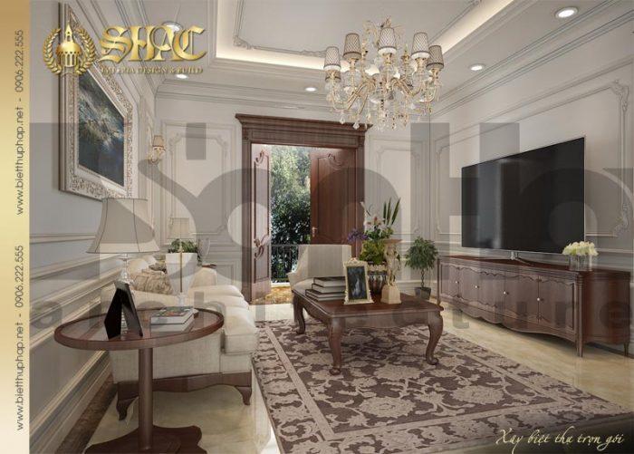Mẫu thiết kế nội thất phòng sinh hoạt chung của ngôi biệt thự pháp 3 tầng mái dốc