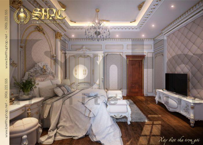 Thiết kế nội thất phòng ngủ diện tích lớn của ngôi biệt thự pháp cổ điển tại Quảng Ninh