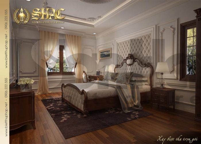 Thiết kế nội thất phòng ngủ phong cách cổ điển của biệt thự pháp 3 tầng