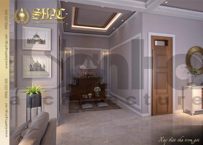 Cách bố trí nội thất phòn thờ truyền thống trong không gian ngôi biệt thự 1 tầng