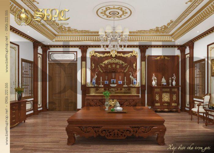 Còn đây là phương án thiết kế nội thất phòng thờ biệt thự tân cổ điển tại Hà Nội