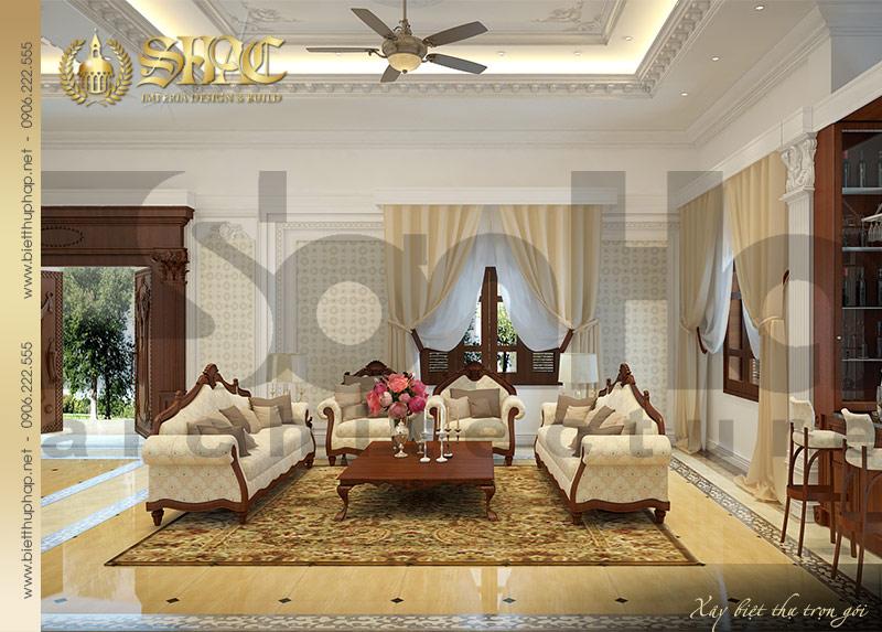 14 Thiết kế nội thất phòng khách biệt thự lâu đài cổ điển sang trọng tại Ninh Bình SH BTLD 0017