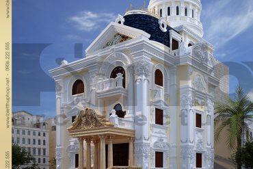 2 Thiết kế kiến trúc biệt thự lâu đài Pháp tại Ninh Bình SH BTLD 0017