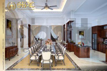 6 Thiết kế nội thất phòng bếp biệt thự lâu đài kiến trúc Pháp tại Ninh Bình SH BTLD 0017