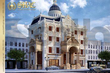 1 Mẫu thiết kế biệt thự cổ điển 4 tầng kiểu pháp sang trọng tại Hà Nội SH BTLD 0024