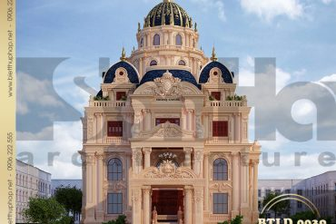1 Mẫu thiết kế biệt thự lâu đài 4 tầng 1 tum 2 mặt tiền đẹp tại Sài Gòn SH BTLD 0039