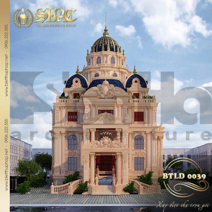 Kiến trúc lâu đài kiểu Pháp đẹp 2 mặt tiền sang trọng từng tiểu tiết tại Sài Gòn