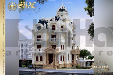 1 Mẫu thiết kế biệt thự lâu đài 4 tầng tại Sài Gòn SH BTLD 0035