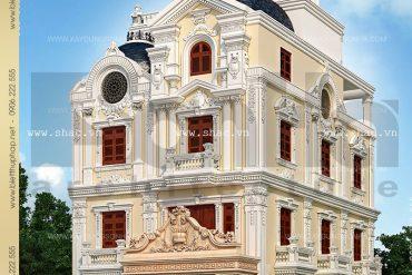 1 Mẫu thiết kế biệt thự lâu đài pháp 4 tầng tại Quảng Ninh SH BTLD 0020