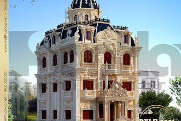 1 Mẫu thiết kế kiến trúc lâu đài đẹp 4 tầng tại Hà Nội SH BTLD 0026