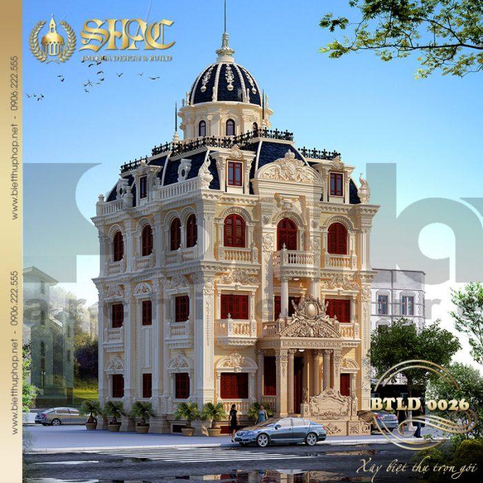 Mẫu biệt thự cổ điển lâu đài 4 tầng với quy mô xây dựng khoa học tại Hà Nội