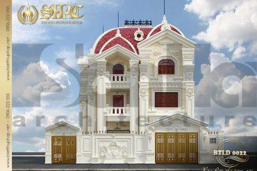 1 Mẫu thiết kế mặt tiền biệt thự lâu đài kiểu pháp tại Quảng Ninh SH BTLD 0022
