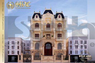 1 Mẫu thiết kế mặt tiền kiến trúc biệt thự lâu đài tại Hà Nội SH BTLD 0032