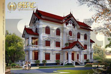 1 Thiết kế biệt thự mái thái kiểu Pháp 3 tầng 2 mặt tiền đẹp tại Hưng Yên SH BTP 0037