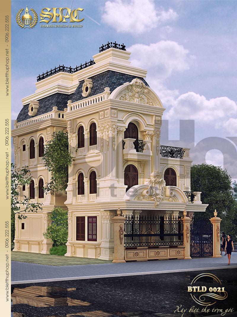 Thiết kế kiến trúc biệt thự lâu đài 3 tầng tại Trà Vinh – SH BTLD 0021 với phong cách hoàng gia lịch lãm
