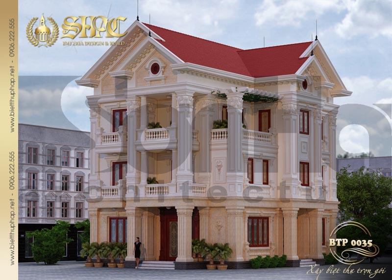 1 Thiết kế kiến trúc biệt thự pháp cổ tại lạng sơn sh btp 0035