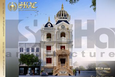 1 Thiết kế kiến trúc mặt tiền biệt thự lâu đài 3 tầng đẹp tại Lạng Sơn SH BTLD 0030