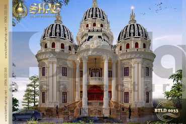 1 Thiết kế kiến trúc mặt tiền biệt thự lâu đài pháp 2 tầng 1 tum tại Đà Nẵng SH BTLD 0033