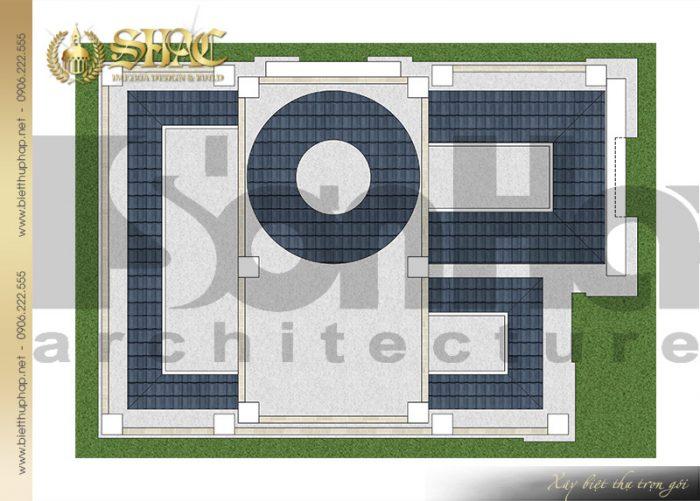 Bản vẽ chi tiết mặt bằng quy hoạch công năng tầng mái biệt thự lâu đài pháp 4 tầng tại Sài Gòn
