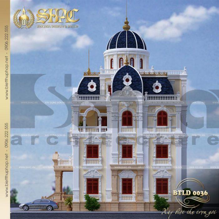 Phối cảnh kiến trúc mặt bên ngôi biệt thự cổ điển lâu đài tuyệt đẹp tại Hải Dương