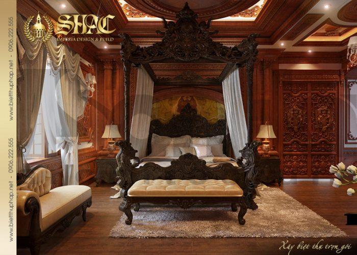 Mẫu phòng ngủ cổ điển với nội thất đẳng cấp khiến bạn có cảm giác được bước chân vào chốn nghỉ ngơi tựa hoàng cung