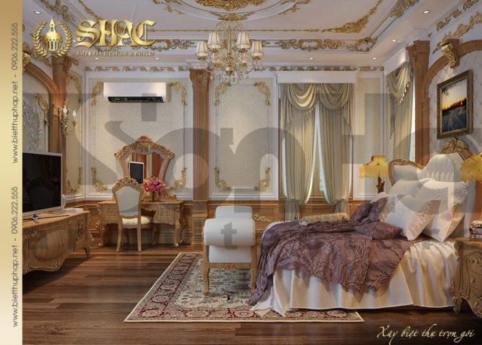 Phòng ngủ ấm cúng và sang trọng dành cho biệt thự lâu đài vương giả