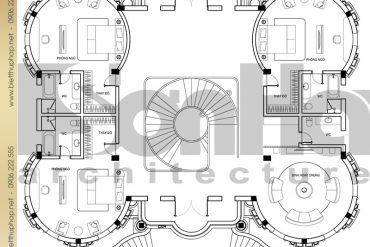 11 Thiết kế mặt bằng công năng tầng 2 biệt thự lâu đài pháp tại Đà Nẵng SH BTLD 0033