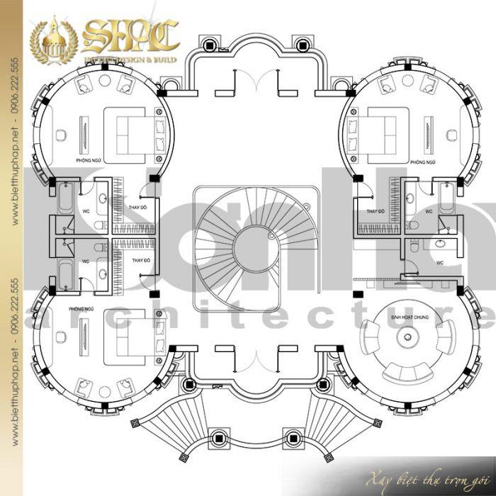 Chi tiết mặt bằng công năng tầng 2 biệt thự lâu đài đẹp 2 tầng 1 tum tại Đà Nẵng