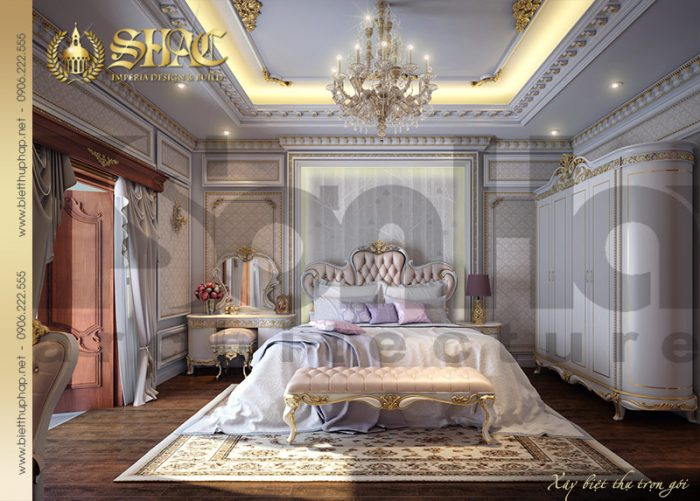 Mẫu phòng ngủ cổ điển với nội thất đẹp trong một không gian rộng, thoáng