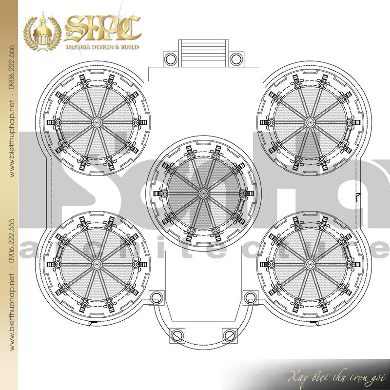 12 Thiết kế mặt bằng công năng tầng mái biệt thự lâu đài pháp tại Đà Nẵng SH BTLD 0033
