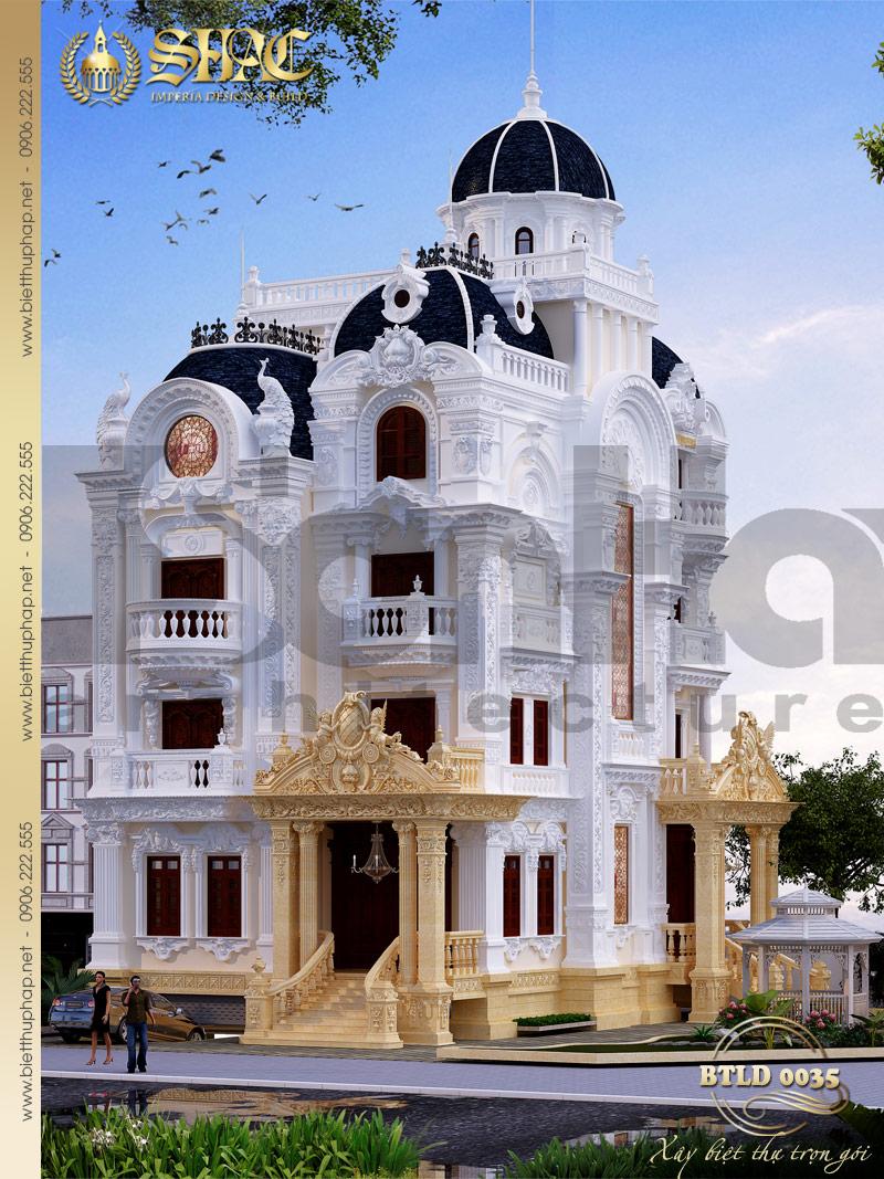 Tổng thể phối cảnh kiến trúc ngôi biệt thự lâu đài diện tích 141m2 tại Sài Gòn