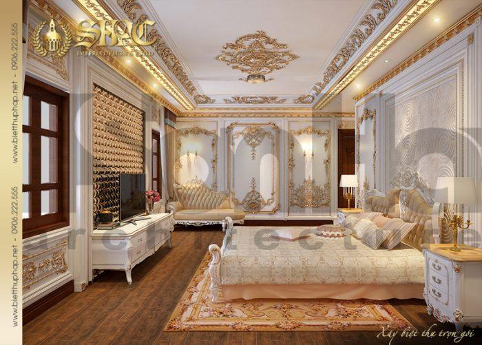 Cách bố trí nội thất tiện nghi và khang trang của mẫu phòng ngủ biệt thự cổ điển Pháp